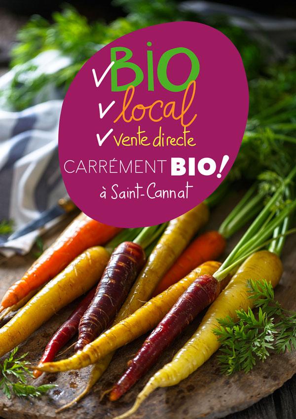 Publication Carrément Bio sur fond de carottes multicolores