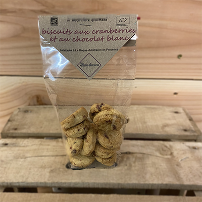 Biscuits cranberries et chocolat blanc 80 g